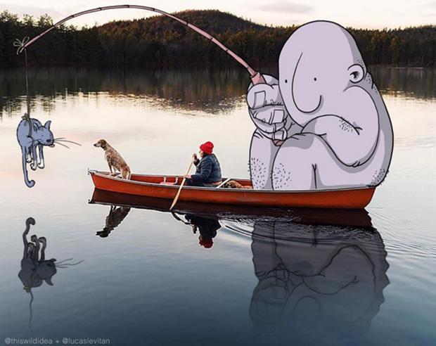 Ilustrador brasileiro invade fotos de desconhecidos no Instagram e interage com artes divertidas