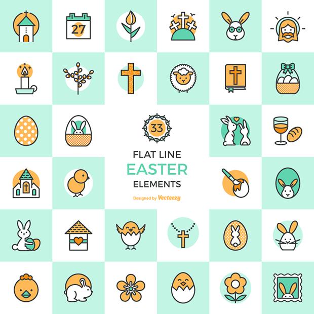 baixar de graça download free páscoa flat line easter elements design veectezy