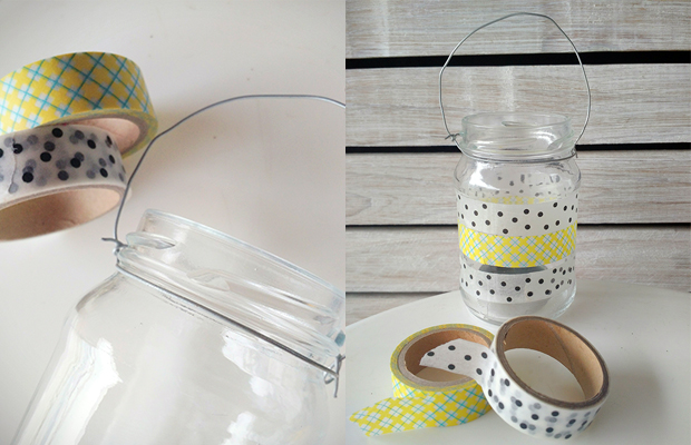 Passo a Passo: Aprenda a fazer um porta velas de vidro usando arame e Washi Tape