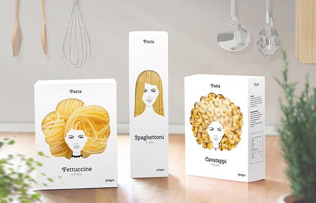embalagens criativas macarrão inspirada na diversidade cabelos mulheres