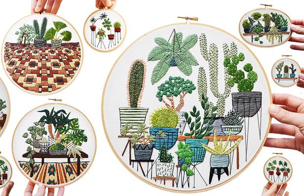 Sarah K. Benning bordados contemporêneos plantas