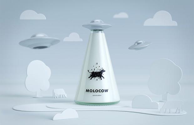 Molocow embalagem conceito leite