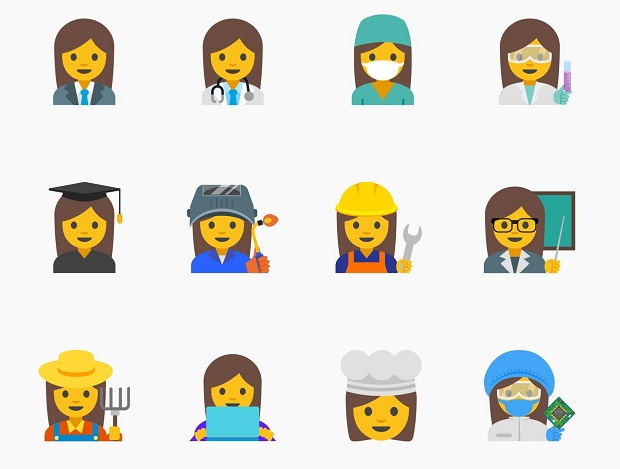 """This image provided by Google shows proposed female emojis. Google said it wants to create a new set """"with a goal of highlighting the diversity of women's careers and empowering girls everywhere."""" (Google via AP) ORG XMIT: NY114"""