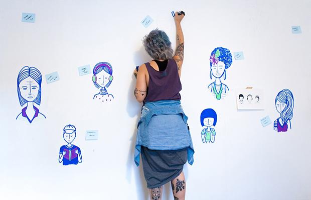 escritório ilustrado Gabriela Teló
