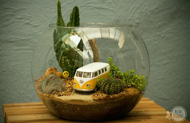 mini mundos terrários e mini jardins