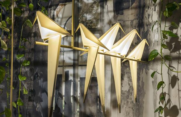 Perch Light luminária pássaro origami