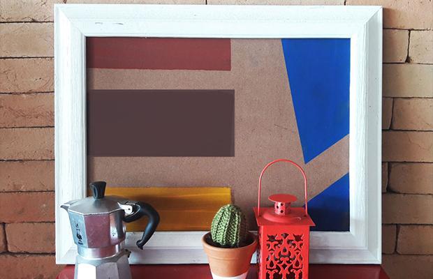 quadro geométrico estilo Mondrian DIY