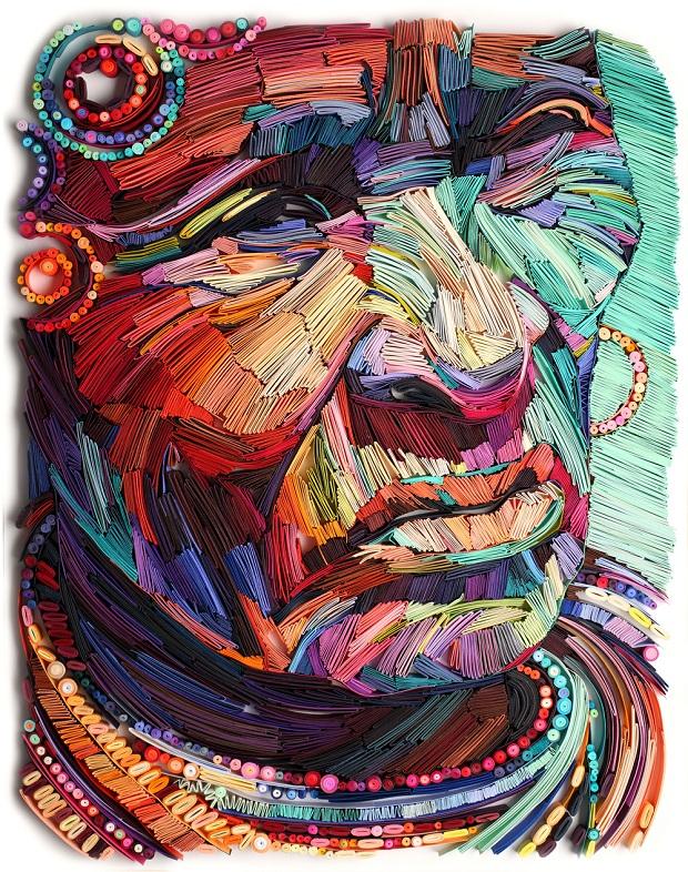 Artista Yulia Brodskaya cria incríveis retratos coloridos de papel usando a técnica de quilling