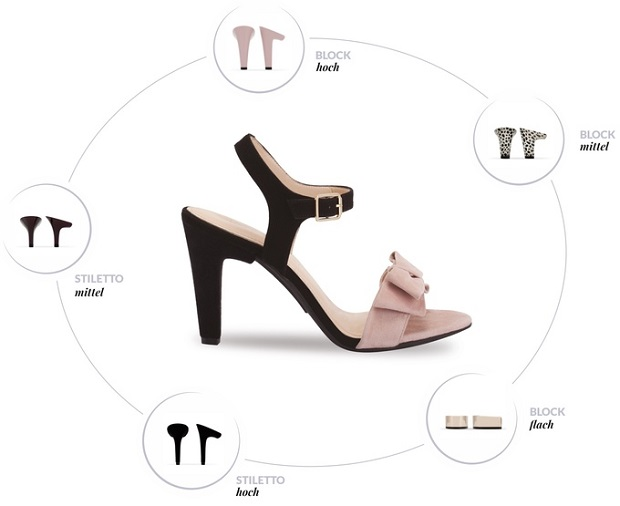 2630ac21d0 ... preciso sofrer para ficarem bonitas – por isso lançou sandálias únicas  que vêm com até cinco saltos diferentes para troca. O tamanho dos saltos  variam ...