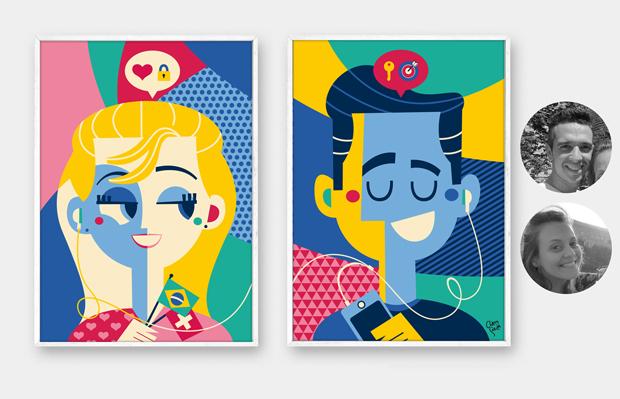 retratos ilustrados pôster personalizado Clau Souza