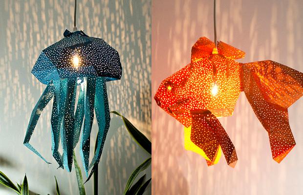 VasiliLights luminária de papel vida marinha