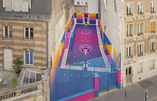 quadra de basquete colorida Paris