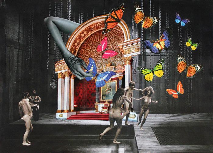 Mitologia e surrealismo marcam as obras de colagem de artista brasileiro