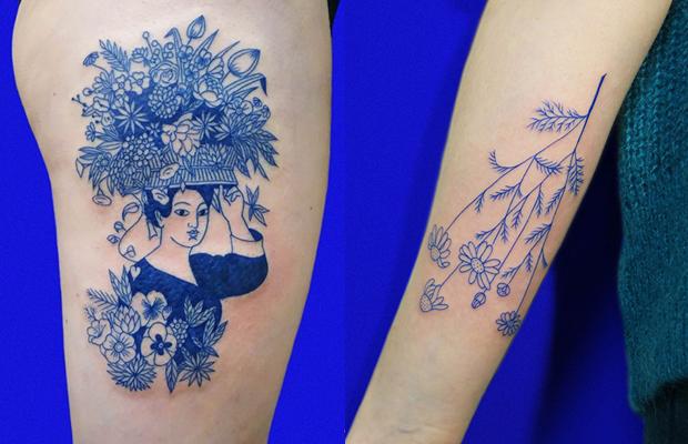 As belas tatuagens azuis de Léa Le Faucon - Follow the Colours